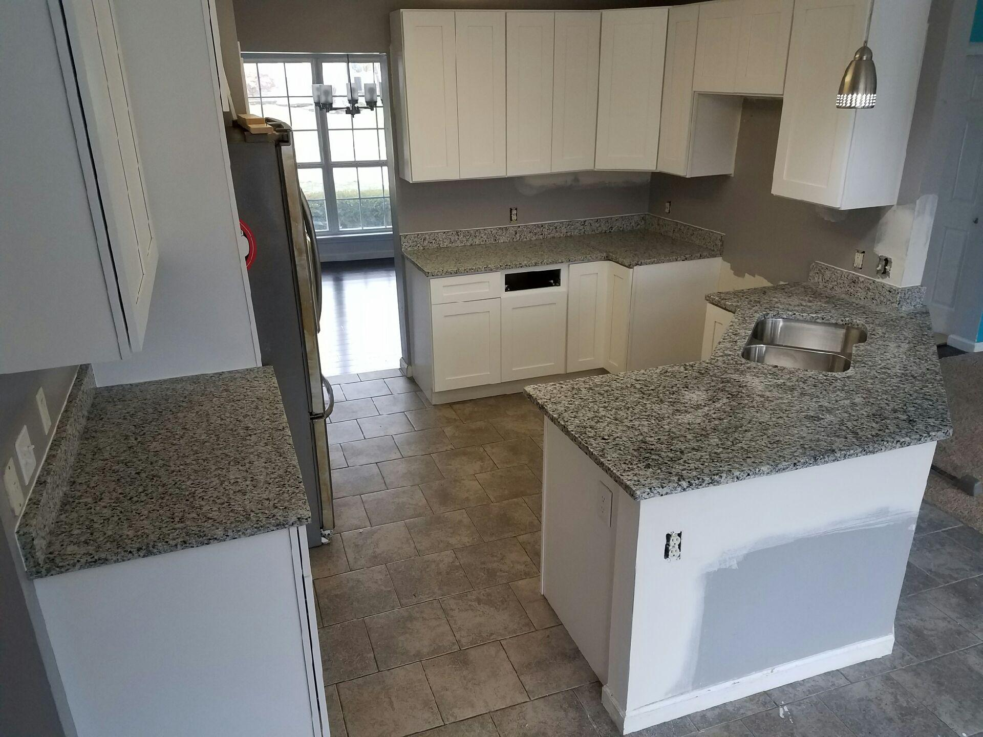 Kitchen White Cabinets Grey Countertop