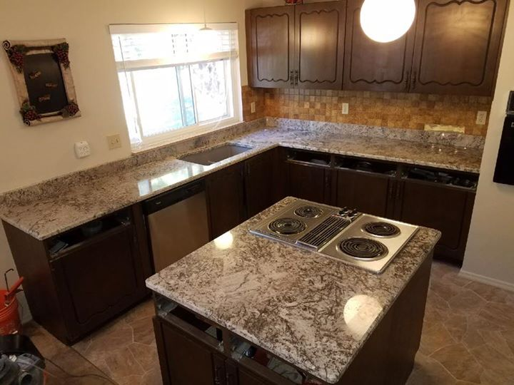 Beautiful Pergaminho granite installed today! Check out...