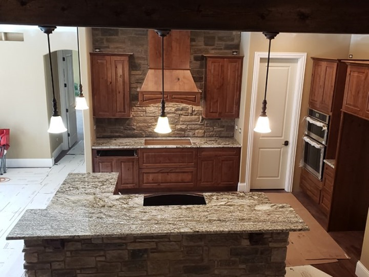 Another Blue Dunes granite kitchen, our hottest color c...